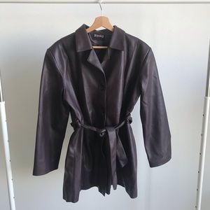 Vintage Plum Purple Belted Faux Leather Jacket